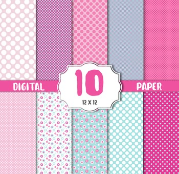 Digital Paper Pack, Polka dots pink white, Flower