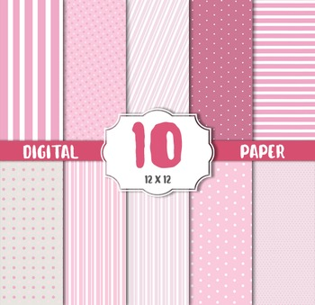 Digital Paper Pack, Polka dots stripes pink white