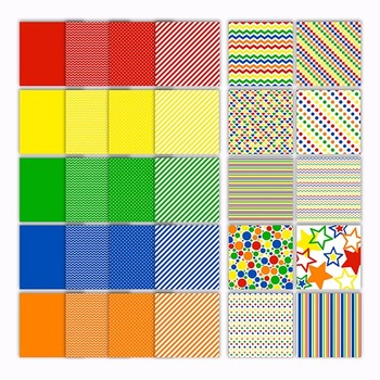 Digital Paper Pack - Primary Colors Collection - 30 Papers - 12 x 12