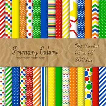 Digital Paper Pack - Primary Colors Collection - 30 Papers