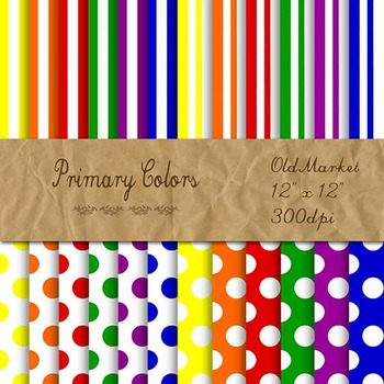 Digital Paper Pack - Primary Colors Stripes and Dots - 24 Papers - 12 x 12