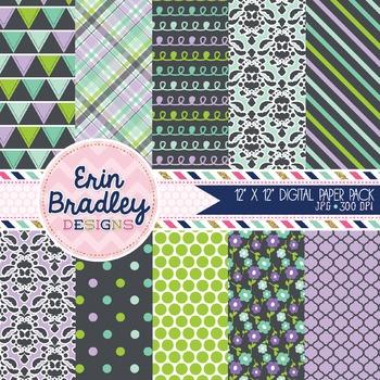 Digital Paper Pack - Purple Green Blue Charcoal