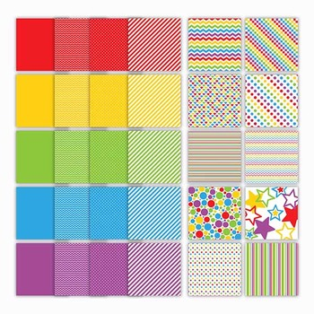 Digital Paper Pack - Rainbow Confection - 30 Papers - 12 x 12