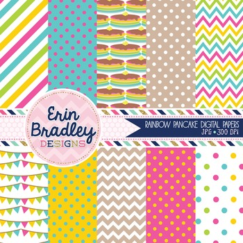 Digital Paper Pack - Rainbow Pancakes Party