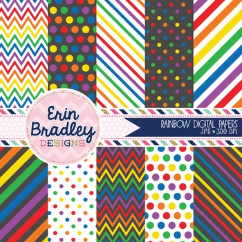 Digital Paper Pack - Rainbow Patterns Printable Background Graphics