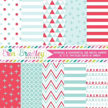 Digital Paper Pack, Red & Aqua Blue Digital Papers