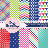 Digital Paper Pack - Red Blue Green Pink Polka Dots Chevro