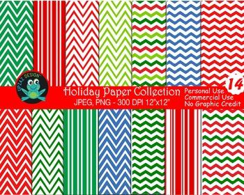 Holiday Digital Papers (Upzaz Digital Clipart)