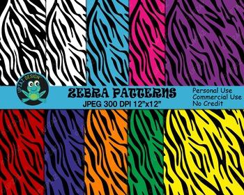 Colorful Zebra Print Papers {Upzaz Digital Clipart}