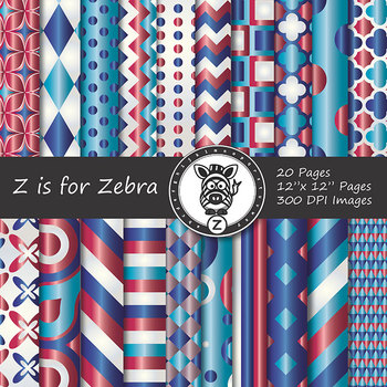 Digital Paper Pack Red White & Blue 1 - CU ok { ZisforZebra}