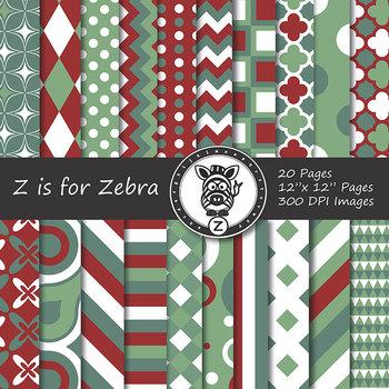 Digital Paper Pack Red/Green Christmas 1 - CU ok { ZisforZebra}