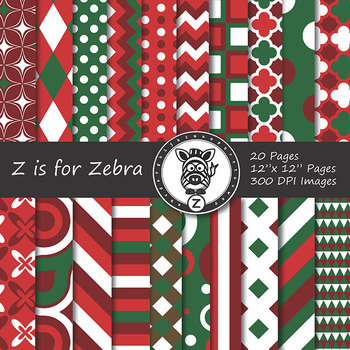 Digital Paper Pack Red/Green Christmas 2 - CU ok { ZisforZebra}