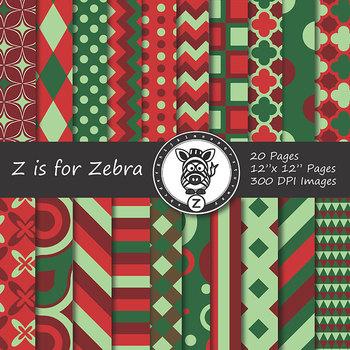 Digital Paper Pack Red/Green Christmas 3 - CU ok { ZisforZebra}