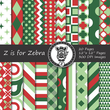 Digital Paper Pack Red/Green Christmas 4 - CU ok { ZisforZebra}
