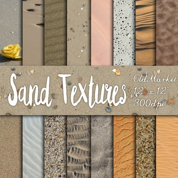Digital Paper Pack - Sand Textures - 16 Different Papers - 12inx12in