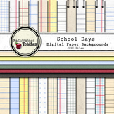 Digital Paper Pack School Days Lined & Distressed School Papers
