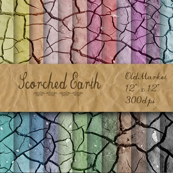 Digital Paper Pack - Scorched Earth - 24 Different Papers - 12 x 12