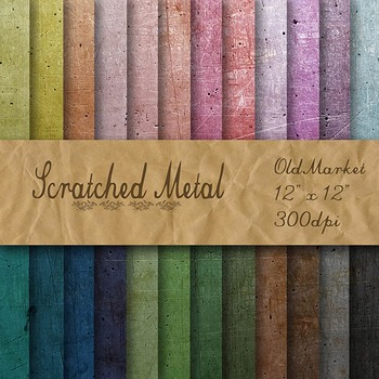 Digital Paper Pack - Scratched Metal Textures - 24 Different Papers - 12 x 12