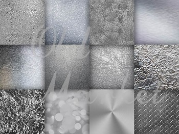 Digital Paper Pack - Silver Textures - 12 Different Papers - 12 x 12