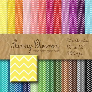 Digital Paper Pack - Skinny Chevron Designs - 24 Different Papers - 12 x 12