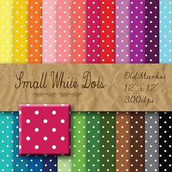 Digital Paper Pack - Small White Dots - 24 Different Paper