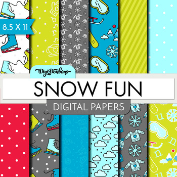 Digital Paper Pack- Snow Fun- Digital Scrapbook- USL size - Snowboard, ski, snow