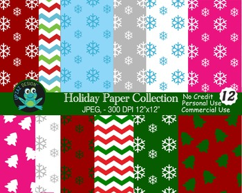 Holiday Digital Papers {Upzaz Digital Clipart}