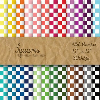 Digital Paper Pack - Squares - 24 Different Papers - 12 x 12