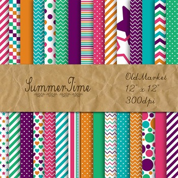 Digital Paper Pack - SummerTime Colors Collection - 30 Papers - 12 x 12