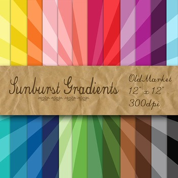 Digital Paper Pack - Sunburst Gradients - 24 Different Papers - 12 x 12