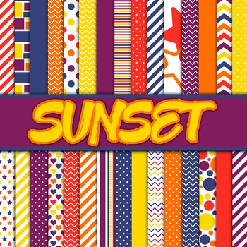 Digital Paper Pack - Sunset Colors Collection - 30 Papers - 12 x 12
