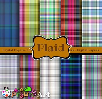 Digital Paper Pack Tartan Plaid Patterns