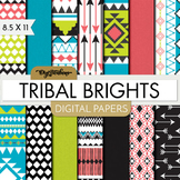Digital Paper Pack-Tribal Brights - Digital Scrapbook-8.5 x 11 paper size- Aztec