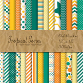 Digital Paper Pack - Tropical Tones Color Collection - 30 Papers - 12 x 12