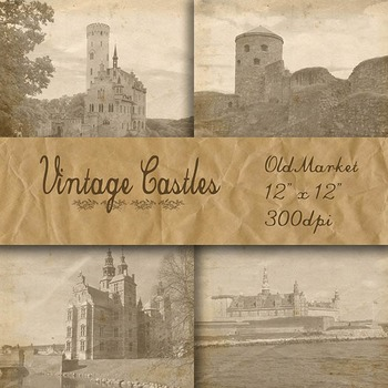 Digital Paper Pack - Vintage Castle Images - 16 Different Papers - 12inx12in