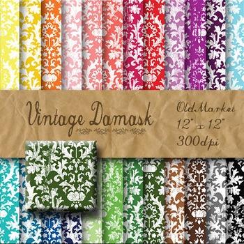 Digital Paper Pack - Vintage Damask - 24 Different Papers