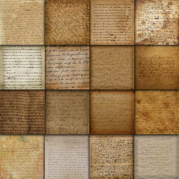 Digital Paper Pack - Vintage Handwriting - 16 Different Papers - 12inx12in