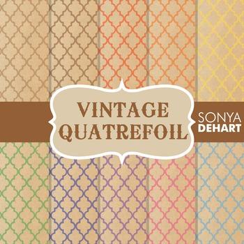Digital Papers - Vintage Quatrefoil