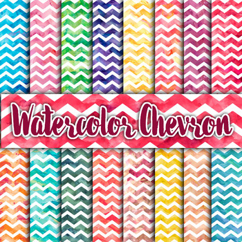 Digital Paper Pack - Watercolor Chevron - 16 Different Papers - 12inx12in