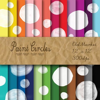 Digital Paper Pack - Watercolor Paint Circles - 24 Different Papers - 12 x 12