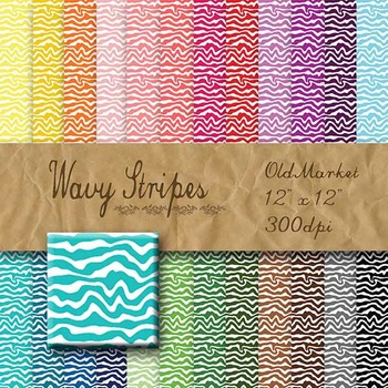 Digital Paper Pack - Wavy Stripes - 24 Different Papers - 12 x 12