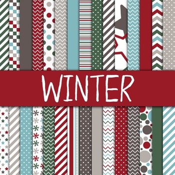 Digital Paper Pack - Winter Colors Collection - 30 Papers