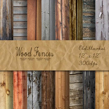 Digital Paper Pack - Wood Fences Backgrounds - 16 Different Papers - 12inx12in