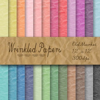 Digital Paper Pack - Wrinkled Paper Textures - 24 Different Papers - 12 x 12