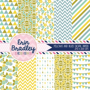 Digital Paper Pack - Yellow & Blue Printable Background Patterns