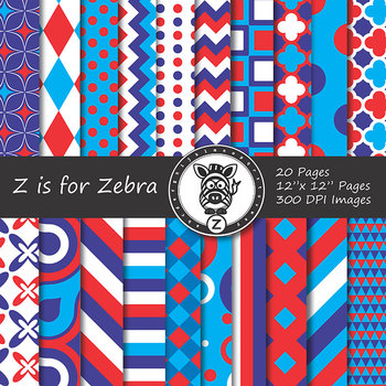 Digital Paper Pack red white blue 2 - CU ok { ZisforZebra}