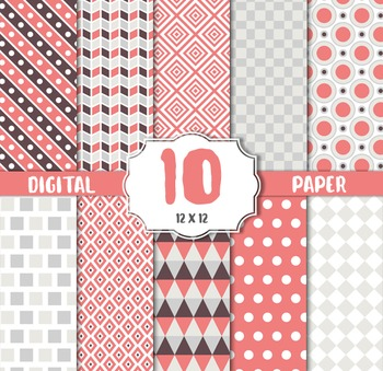 Digital Paper Pack, stripes, Polka dots pink white