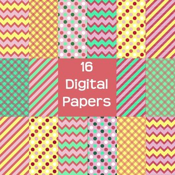 Digital Paper Pack - summer chevron, stripes, dots, & gingham