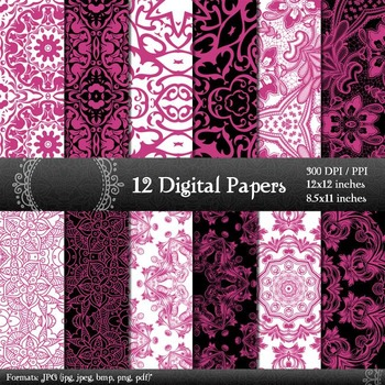 Digital Paper Page  12 X 12 + 8.5 X 11 Lace Indian Damask Embroidery Background