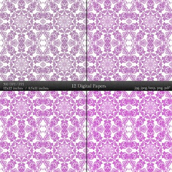 Digital Paper Page A4 Book Template Embellishment Graphics Premade Lot Ornate